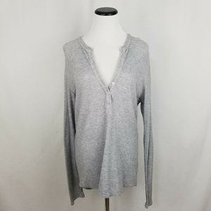 James Perse Gray Thermal Henley 100% Cotton Size 3
